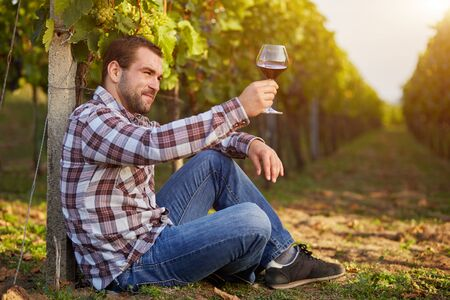 siting: Young man in the vineyard tasting red wine, toned. Stock Photo