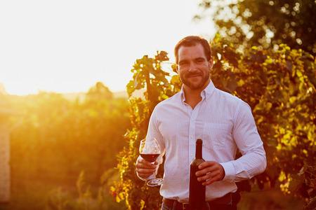 viñedo: Hombre con un vaso de vino tinto en la mano, al atardecer en la viña. tonificado