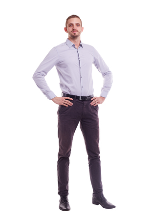 attractive person: The whole figure of a man in a shirt on white background