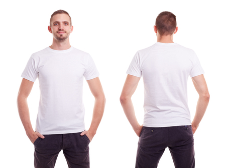 back: Young man in white t-shirt on white background