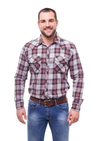 camisa: El hombre en camisa de cuadros. Aislado en el fondo blanco Foto de archivo