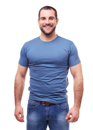 man shirt: Young smiling man in a blue t shirt on white background