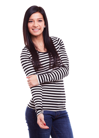 women in jeans: Happy young woman on a white background