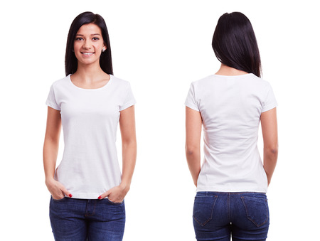 White t shirt on a young woman template on white background
