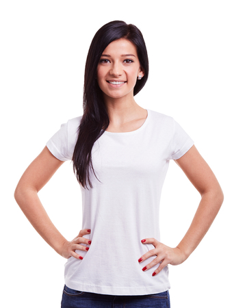 Happy young woman on a white background