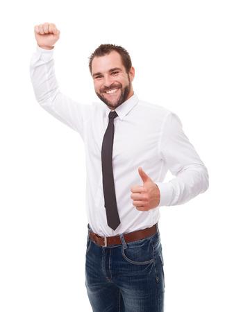 persona feliz: Retrato de hombre de negocios emocionado que celebra éxito sobre fondo blanco Foto de archivo
