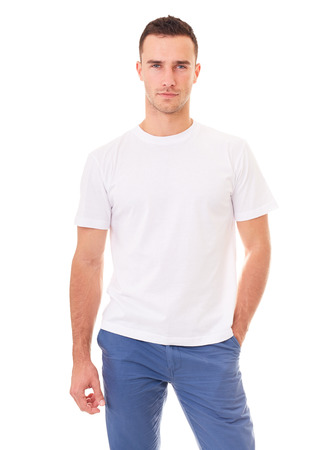 Young man in a white t shirt on white background Stock Photo