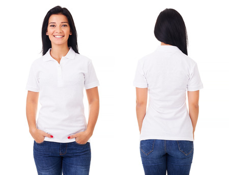 Young woman in white polo shirt on white background Foto de archivo