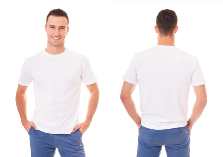 Happy man in white t-shirt on white background