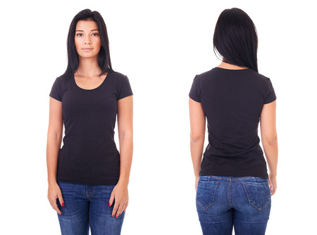 Black t-shirt on a young woman template on white background