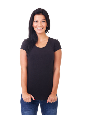 Smiling woman in black t-shirt on a white background