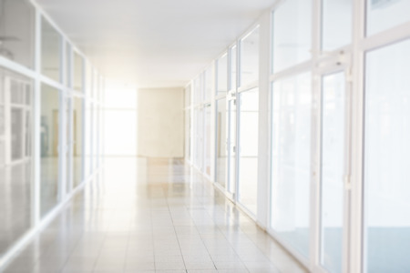 Blurry corridor in the business center, bokeh background
