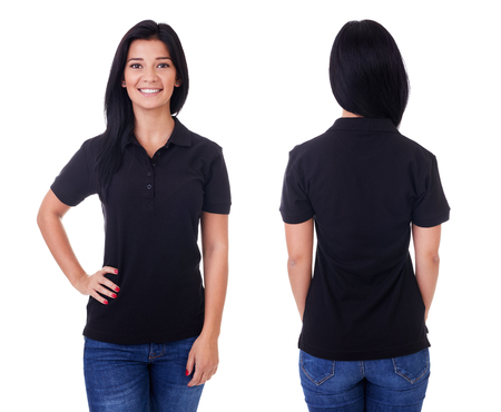 Young woman in black polo shirt on white background