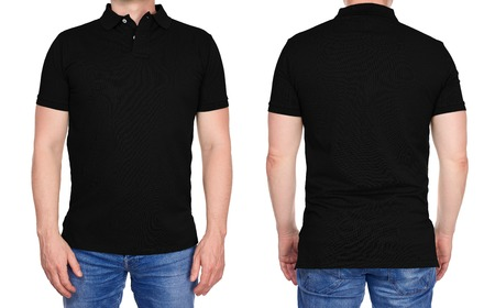 T-shirt design - young man in blank black polo shirt front and rear isolated 스톡 콘텐츠