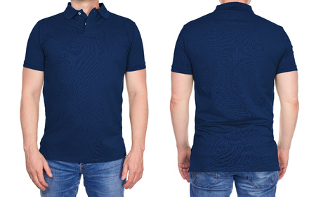 T-shirt design - young man in blank dark blue polo shirt from front and rear isolated Foto de archivo