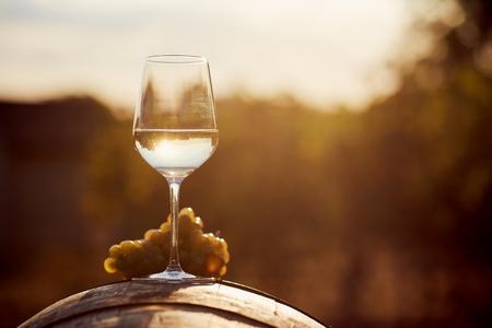 Vaso de vino blanco con uva al atardecer Foto de archivo - 89227292