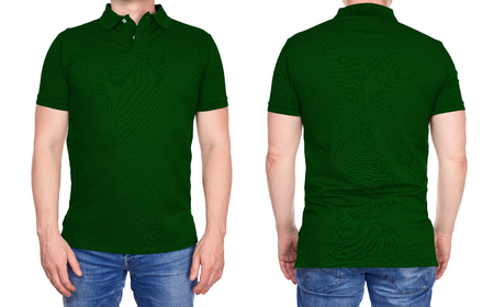 T-shirt design - young man in blank dark green polo shirt from front and rear isolated Foto de archivo