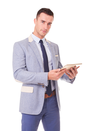 Man with tablet computer. Isolated on white background