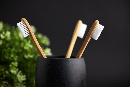 Close up of three bamboo toothbrushes in a black glass with plant on a dark background