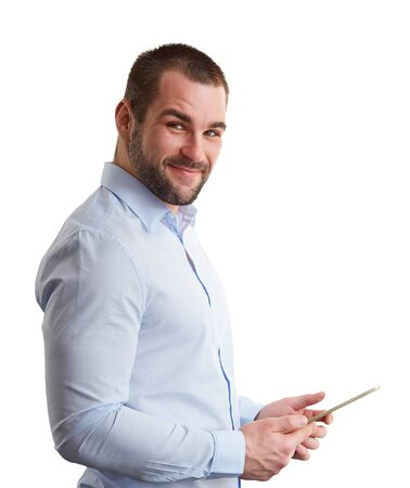 Man with tablet isolated on white background