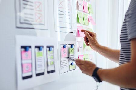 Webentwickler-Planungsanwendung für Mobiltelefon auf Whiteboard on