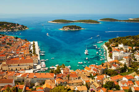 Port in Hvar town, Croatia. View from the fortress of Spain Reklamní fotografie