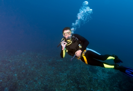 diver: Diver, showing ok sign