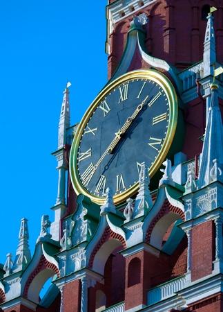 spasskaya: Main state clock - Spasskaya tower, Moscow, Russia
