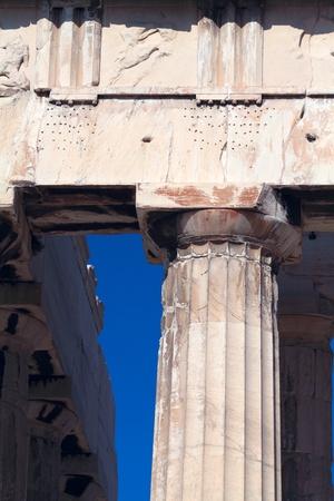 Dorian column of Parthenon, Acropolis, Athens, Greece photo