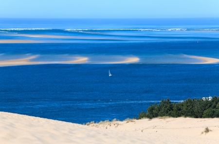 bay: View from the highest dune in Europe - Dune of Pyla (Pilat), Arcachon Bay, Aquitaine, France