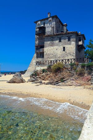 sithonia: Phospfori tower in Ouranopolis, Athos Peninsula, Mount Athos, Chalkidiki, Greece