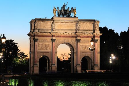 Night view of Arc de Triomphe du Carrousel (1806-1808), designed by Charles Percier, Paris, France Stock Photo - 10379090