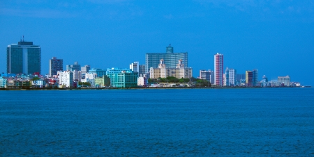 Skyline of modern Havana and Caribbean sea, Cuba photo