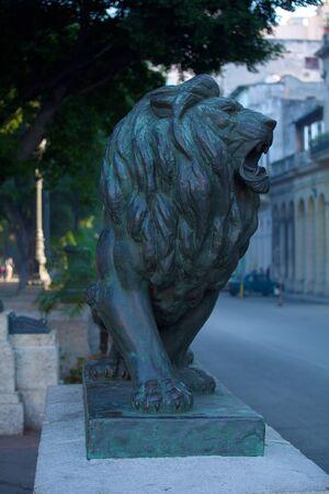 strret: Lion statues on Paseo del Prado, Havana Stock Photo