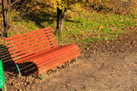 Bench in autumn park, Moscow photo