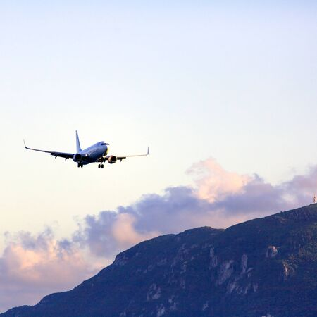 Landing of airplane, Corfu Stock Photo - 15370974