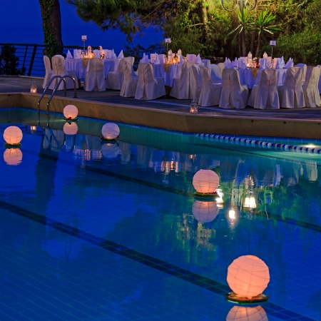 night table: Floating water lantern in the pool Stock Photo