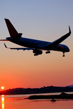 Landing of airplane, Corfu Stock Photo - 15370992