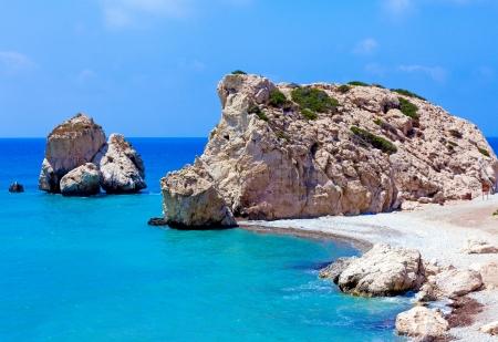Rocce di Afrodite, bithplace della dea dell'amore, Paphos, Cipro, chiamata anche Petra tou Romiou Archivio Fotografico
