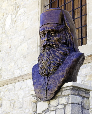 abbot: Statue of victim of turkey occupation - abbot of Omodos monastery Dositheos, killed in 1821, Cyprus Stock Photo