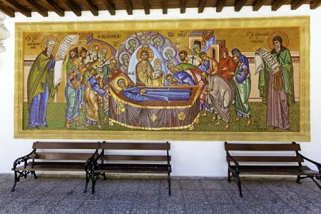 Mosaic of Holy Monastery of the Virgin of Kykkos in Troodos mountains, Cyprus Editorial
