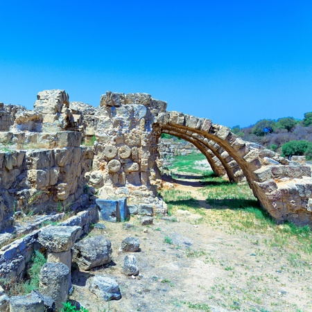 Ruins of Salamis, Famagusta aeria, North Cyprus Stock Photo
