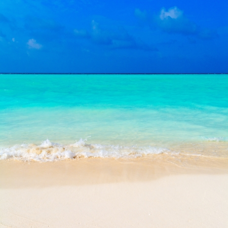 Colorful Hot Summer Landscape of Tropical Beach with Ocean Wave and White Sand photo