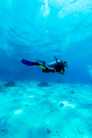 marine scenes: Silhouette of Young Man Scuba Diver between Water Surface and Sea Bottom Stock Photo