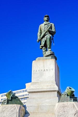 admiral: Monument of Civil War Hero Admiral Farragut, Washington DC Stock Photo