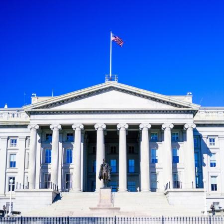 alexander hamilton: US Treasury costruzione e monumento di Alexander Hamilton, Washington DC, USA Archivio Fotografico