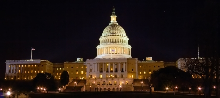 Panorama of Capitol Building with night lights, Washington DC, USA photo