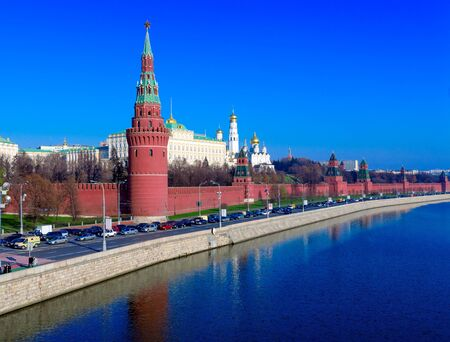 Landscape of Moscow Kremlin with Palace and Cathedrals near Moskva River, Russia photo