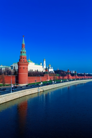 Landscape of Moscow Kremlin with Palace and Cathedrals near Moskva River, Russia Stock Photo - 15840370