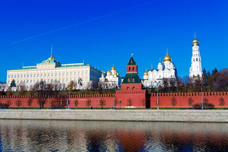 Landscape of Moscow Kremlin with Palace and Cathedrals near Moskva River, Russia Stock Photo - 15840510